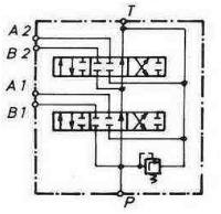 Сдвоенная схема. Подача рабочей жидкости производится только через циркуляционный канал.