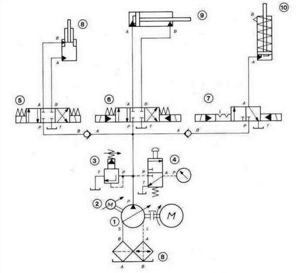 Гидросистема с параллельным включением нескольких распределителей