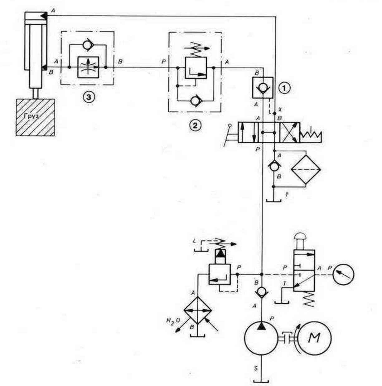 Гидравлическая схема системы распыления