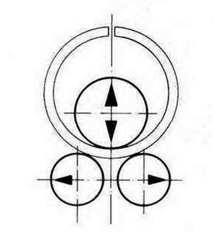 Принципиальная схема системы регулирования синхронного хода одного из валиков трехвалкового гибочного пресса